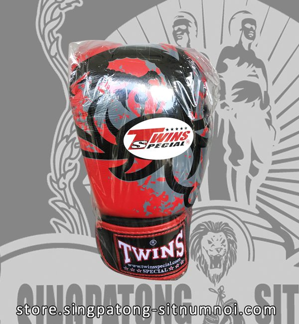 "Twins Fancy Boxing Gloves ""TRIBAL DRAGON RED"""