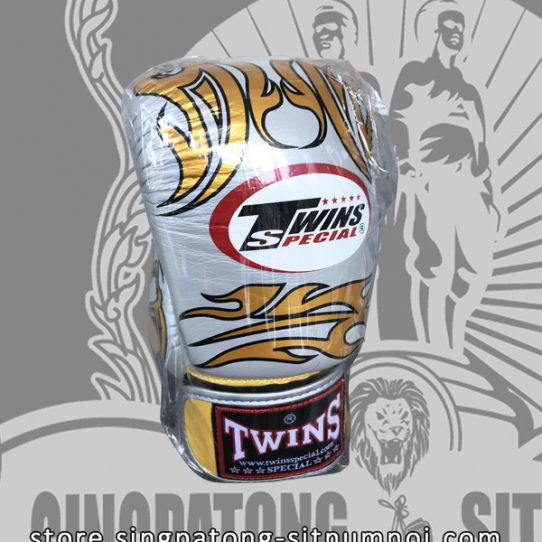 Twins Special Fancy Boxing Gloves – Silver-Gold Skull and Strap
