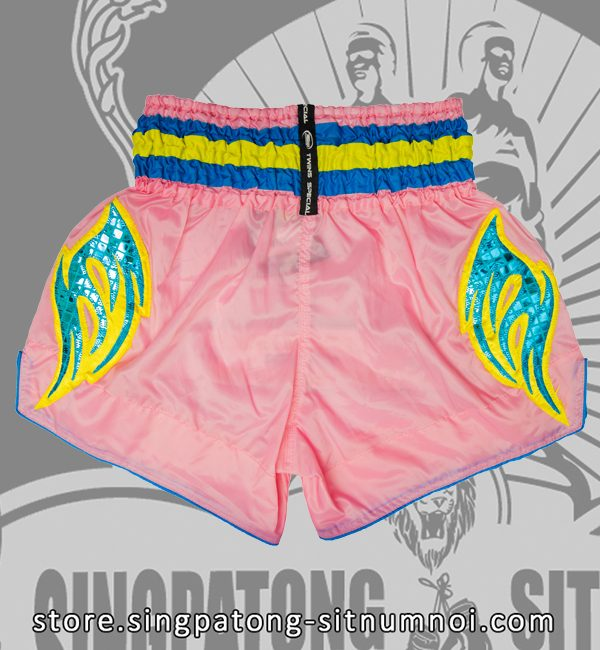 Muay Thai Shorts PINK RETRO BLUE back