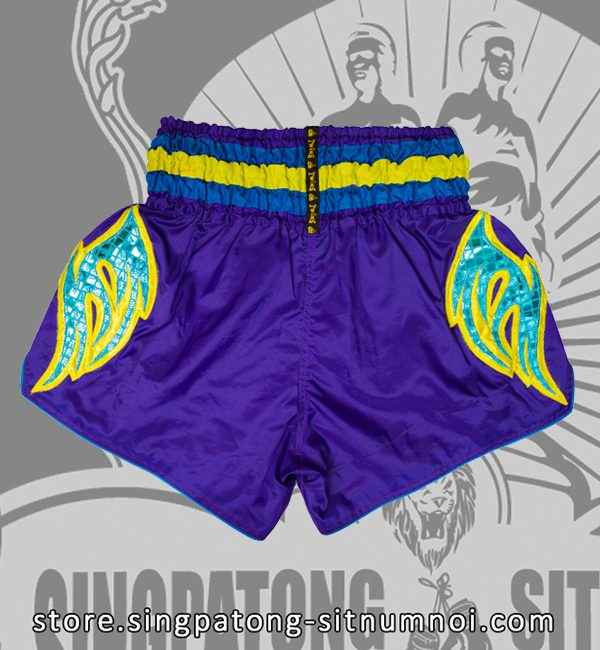 Muay Thai Shorts VIOLET RETRO BLUE back