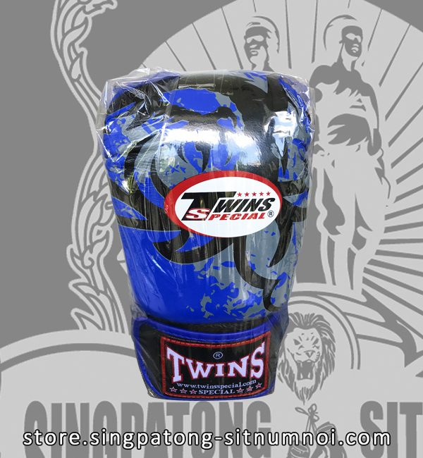 "Twins Fancy Boxing Gloves ""TRIBAL DRAGON BLUE"""