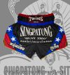 Twins Muay Thai Shorts BLACK AND BLUE STAR