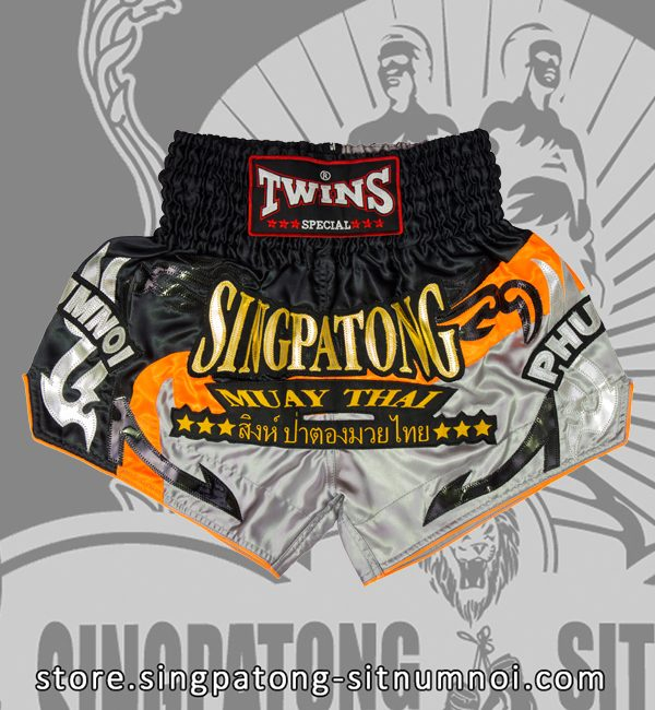 Twins Muay Thai Shorts BLACK AND GRAY NEON ORANGE