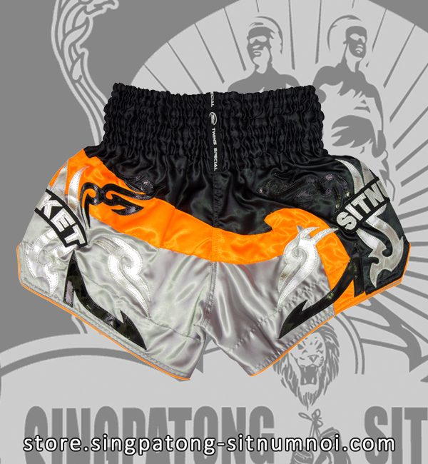 Twins Muay Thai Shorts BLACK AND GRAY NEON ORANGE back