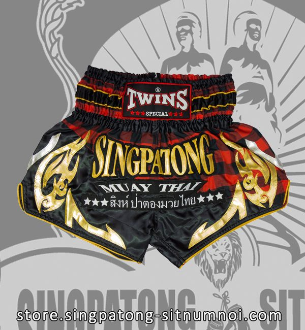Twins Muay Thai Shorts BLACK AND RED CHECKERED