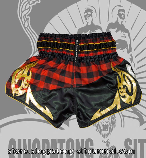 Twins Muay Thai Shorts BLACK AND RED CHECKERED back