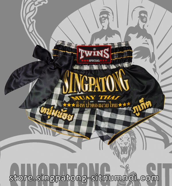 Twins Muay Thai Shorts BLACK AND WHITE CHECKERED