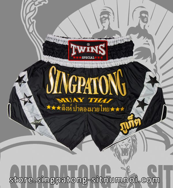 Twins Muay Thai Shorts BLACK AND WHITE STAR