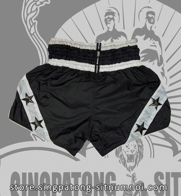 Twins Muay Thai Shorts BLACK AND WHITE STAR back