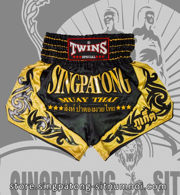 Twins Muay Thai Shorts BLACK AND YELLOW TRIBAL