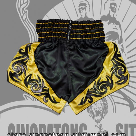 Twins Muay Thai Shorts BLACK AND YELLOW TRIBAL back