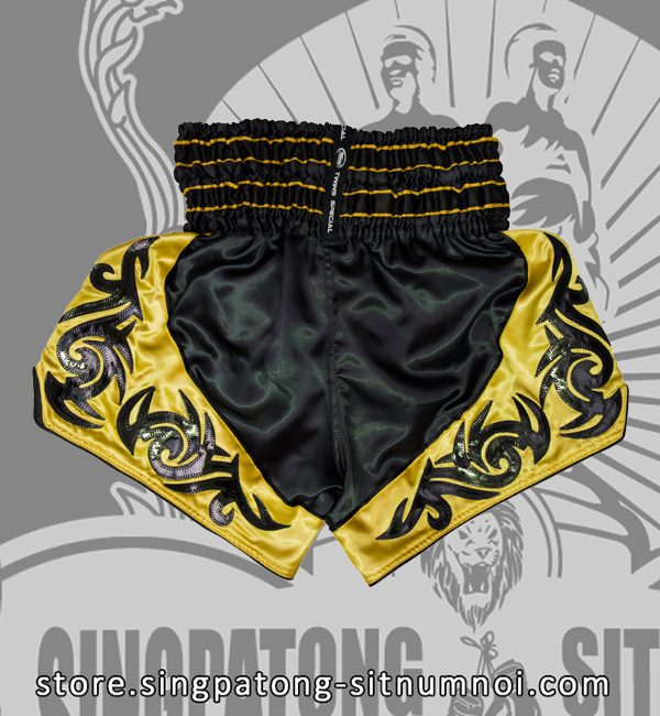 Twins Muay Thai Shorts BLACK AND YELLOW TRIBAL back