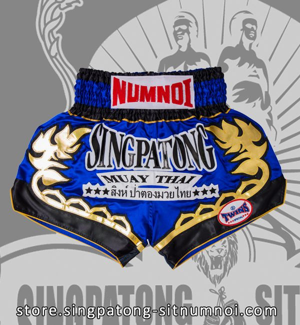Twins Muay Thai Shorts BLUE SIAMESE LOTUS