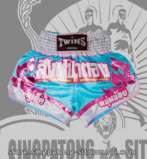 Twins Muay Thai Shorts SKYBLUE TRIBAL PINK