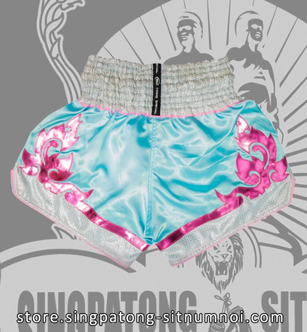 Twins Muay Thai Shorts SKYBLUE TRIBAL PINK back