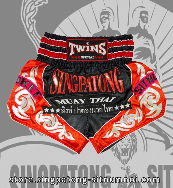 Twins Muay Thai Shorts TRIBAL BLACK AND RED
