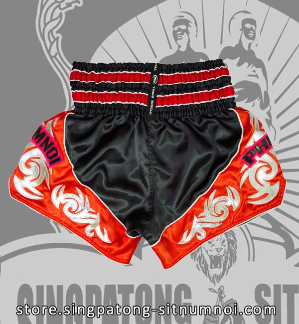 Twins Muay Thai Shorts TRIBAL BLACK AND RED back