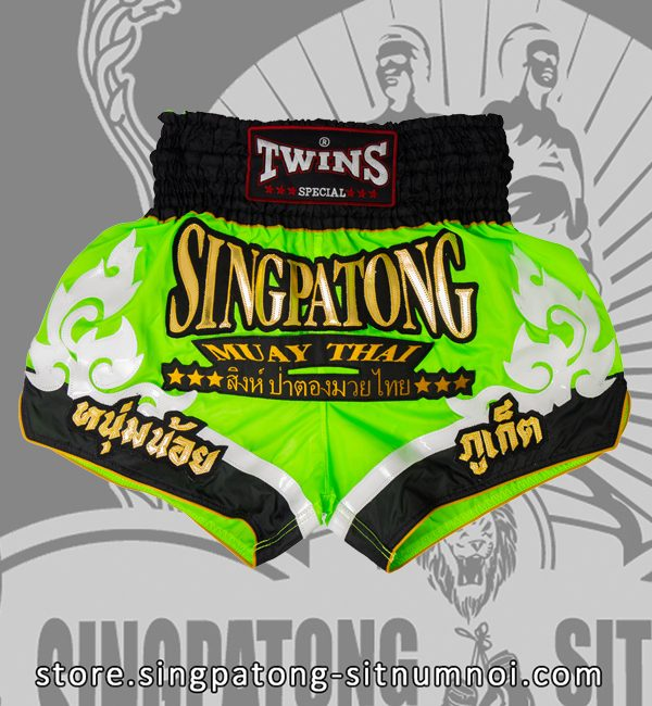Twins Muay Thai Shorts TRIBAL NEON GREEN