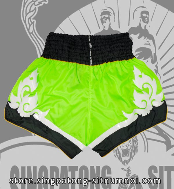 Twins Muay Thai Shorts TRIBAL NEON GREEN back