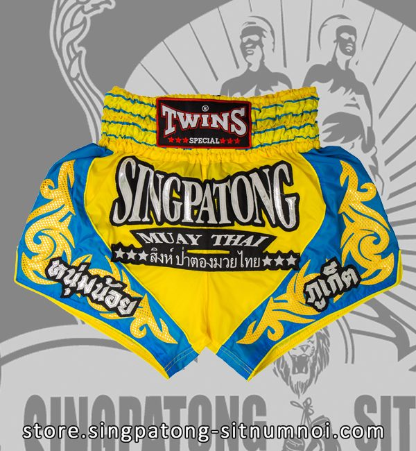 Twins Muay Thai Shorts TRIBAL YELLOW BLUE