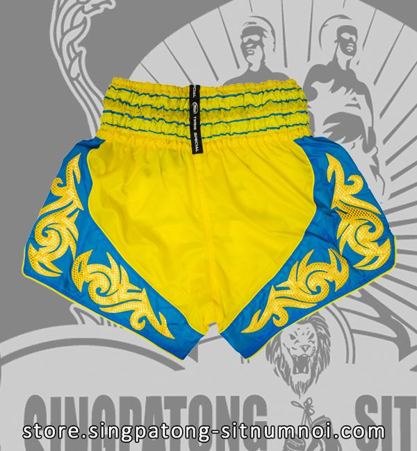 Twins Muay Thai Shorts TRIBAL YELLOW BLUE back