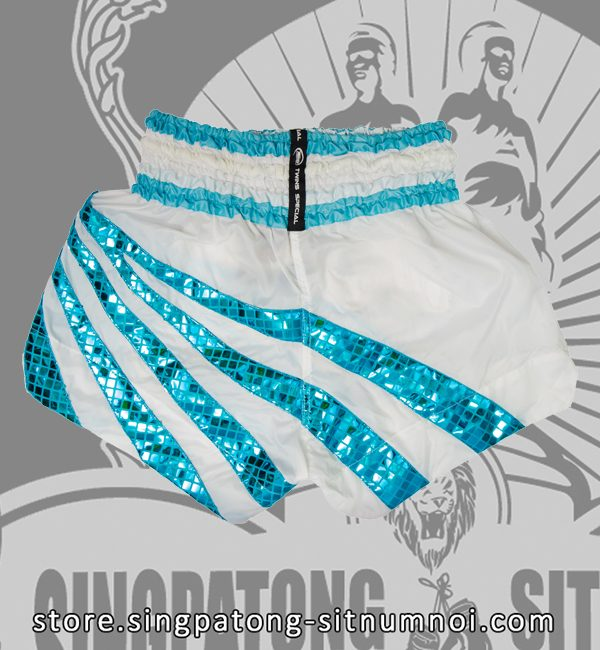 Twins Muay Thai Shorts WHITE RETRO BLUE RAYS back