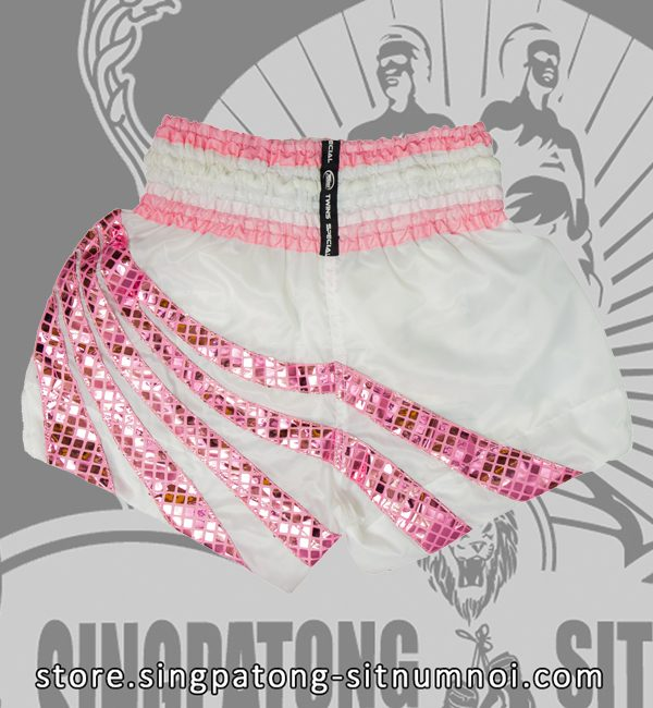 Twins Muay Thai Shorts WHITE RETRO PINK RAYS back