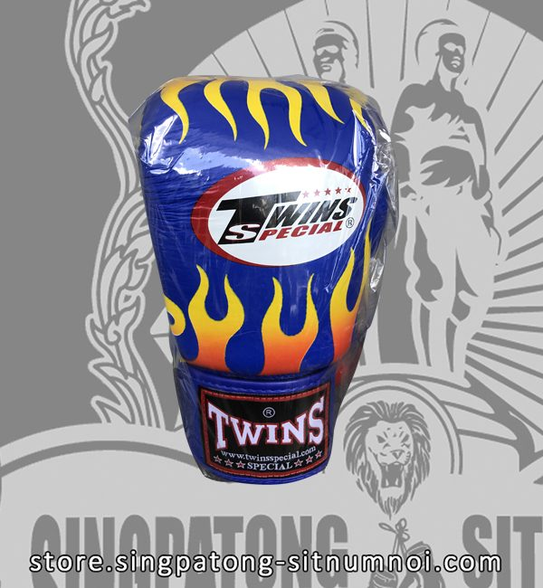 Twins Fancy Boxing Gloves BLUE FIRE FLAME