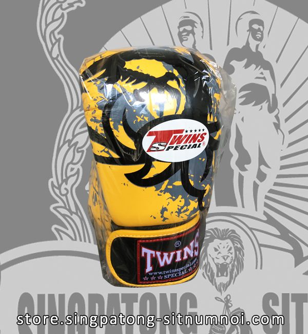 "Twins Fancy Boxing Gloves ""TRIBAL DRAGON YELLOW"""
