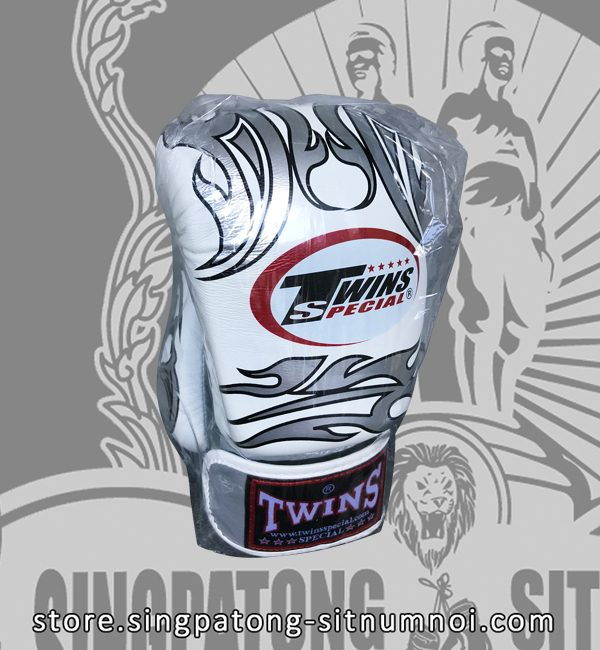 Twins Special Fancy Boxing Gloves – White-Silver Skull and Strap
